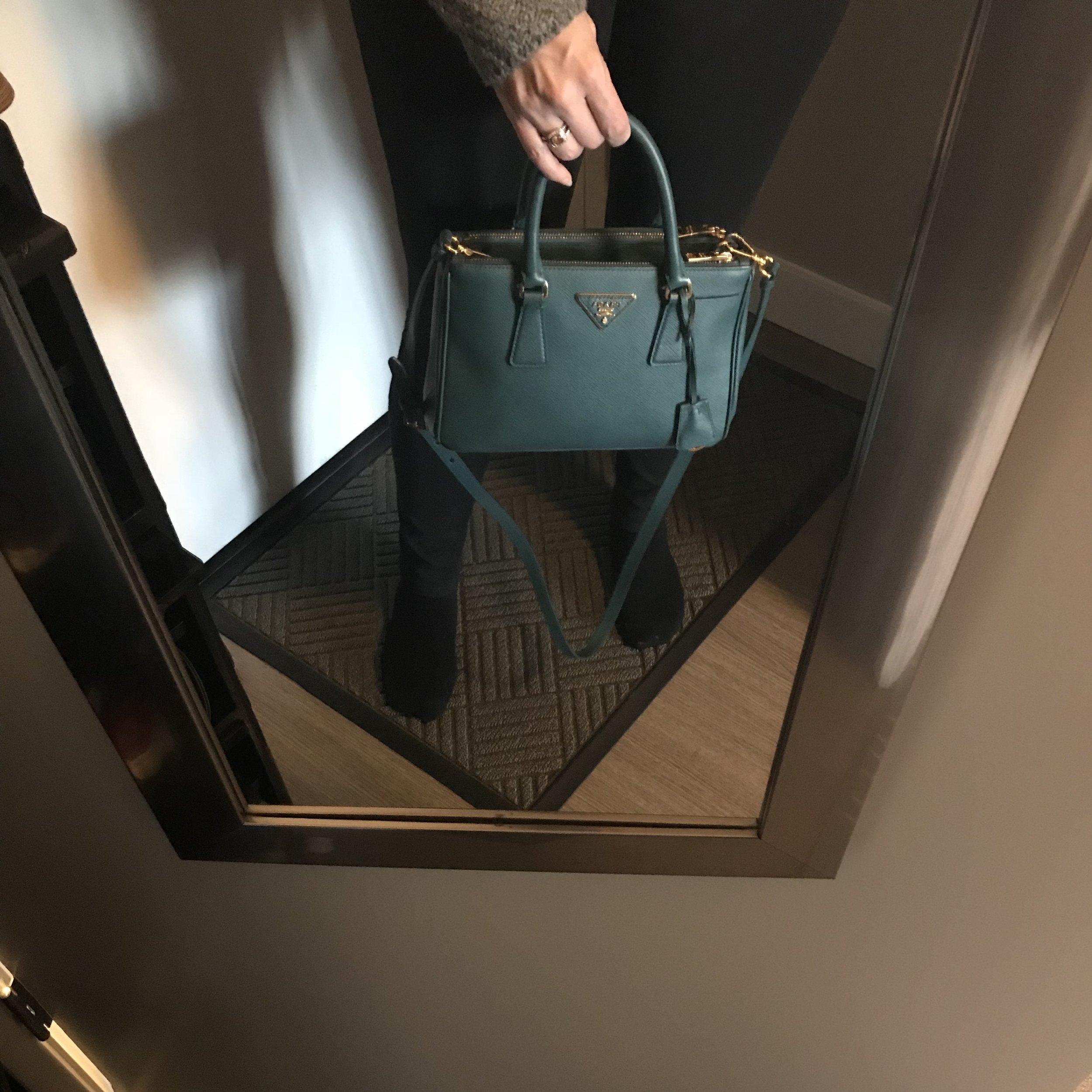 Prada Galleria Double Zip Tote size Mini in action