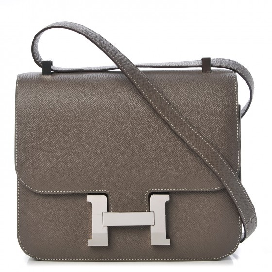 Hermes Epsom Leather - Known for its ability to hold the vibrance of a variety of colors and huesIt was introduced by Hermes as a replacement for courcheval leatherIncredibly lightweight, making this a perfect choice for handbags, shoes, wallets, and beltsShown here in the Constance 24