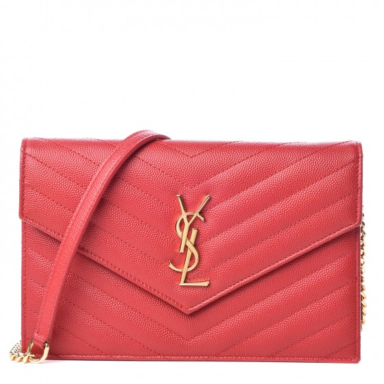 Saint Laurent Grain de Poudre - Very similar in texture to Chanel caviar leather, YSL's grain de poudre has a stippled surfaceFeels elegant to the touch and holds its shape without slouchingDurable and resistant to scratches or water stainingShown here in the Matelasse Chevron Chain Wallet