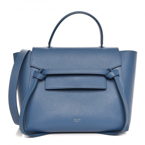 Céline Grained Calfskin Leather - Thinner and lighter than Chanel, LV, or YSL grained leathersWater resistant and holds bright colors wellDimpled finish but much smoother overall than the other leathers profiled on this pageShown here in the Micro Belt Bag
