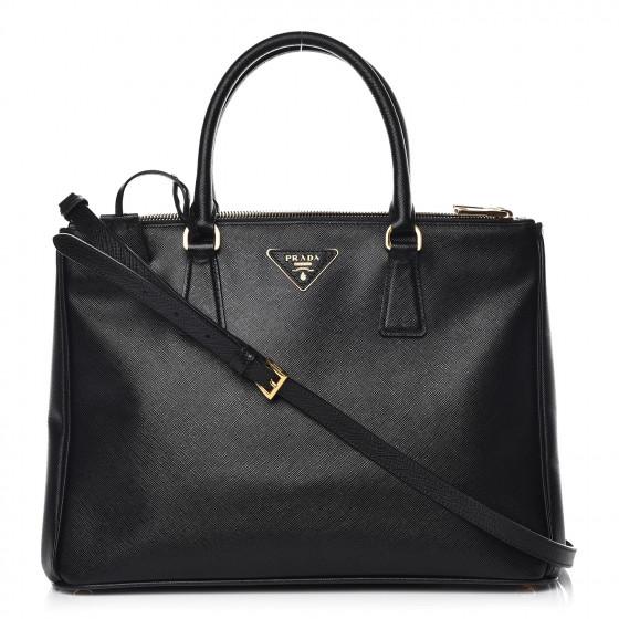 PRADA Saffiano Medium Galleria Double Zip Tote Black
