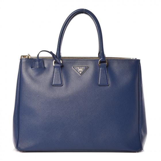 PRADA Saffiano Large Galleria Double Zip Tote Bluette