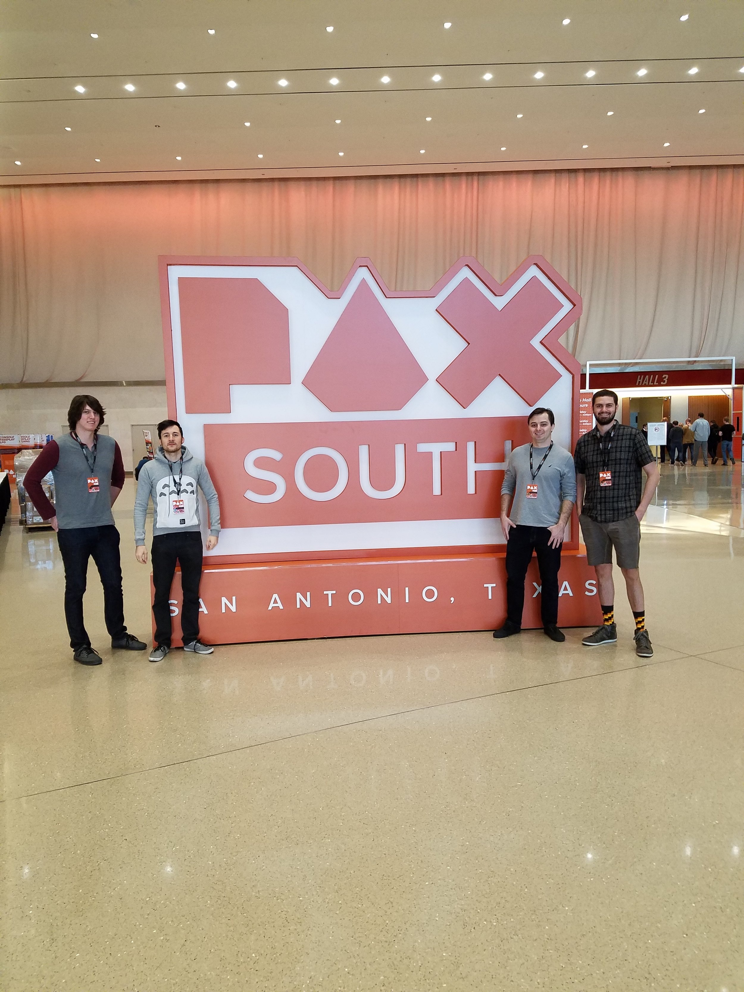 PAX South. - (From left to right) Nick Rea, Peter Milko, Sean Pinnock, and PJ Legendre host the Blacksea Odyssey booth at PAX South in San Antonio, TX in 2017.