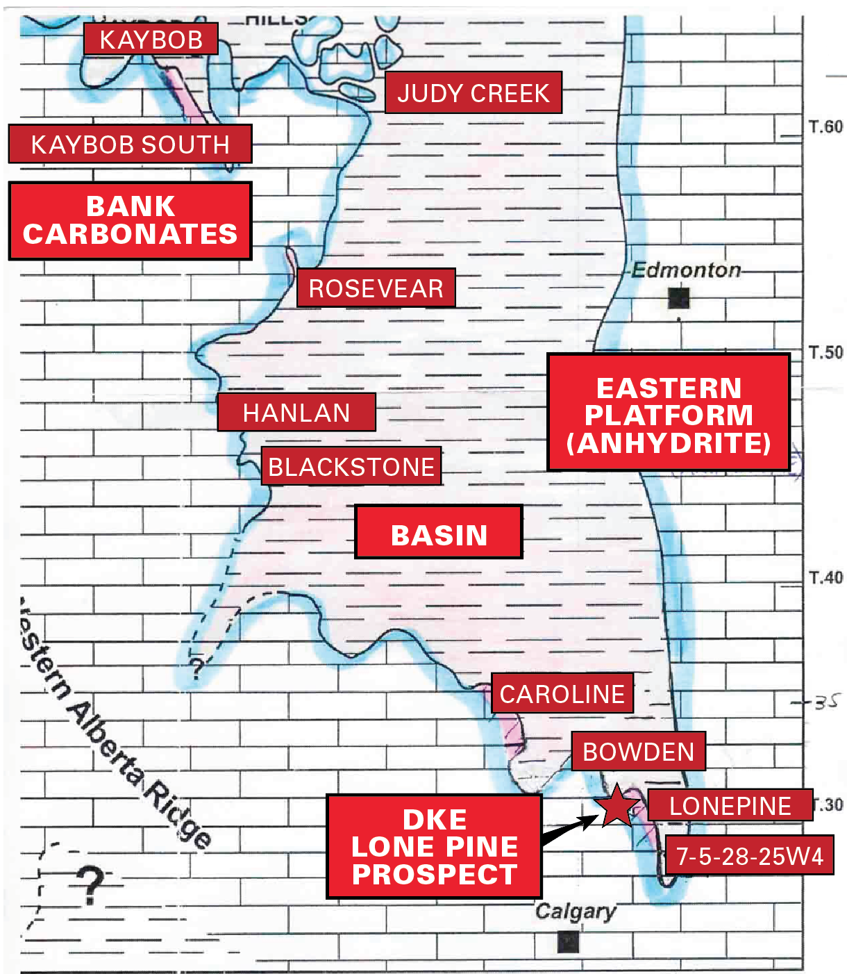 MAP 3 <click to enlarge> Swan Hills Regional Map with Carbonate Bank Edge THE FEBRUARY 1986 DISCOVERY