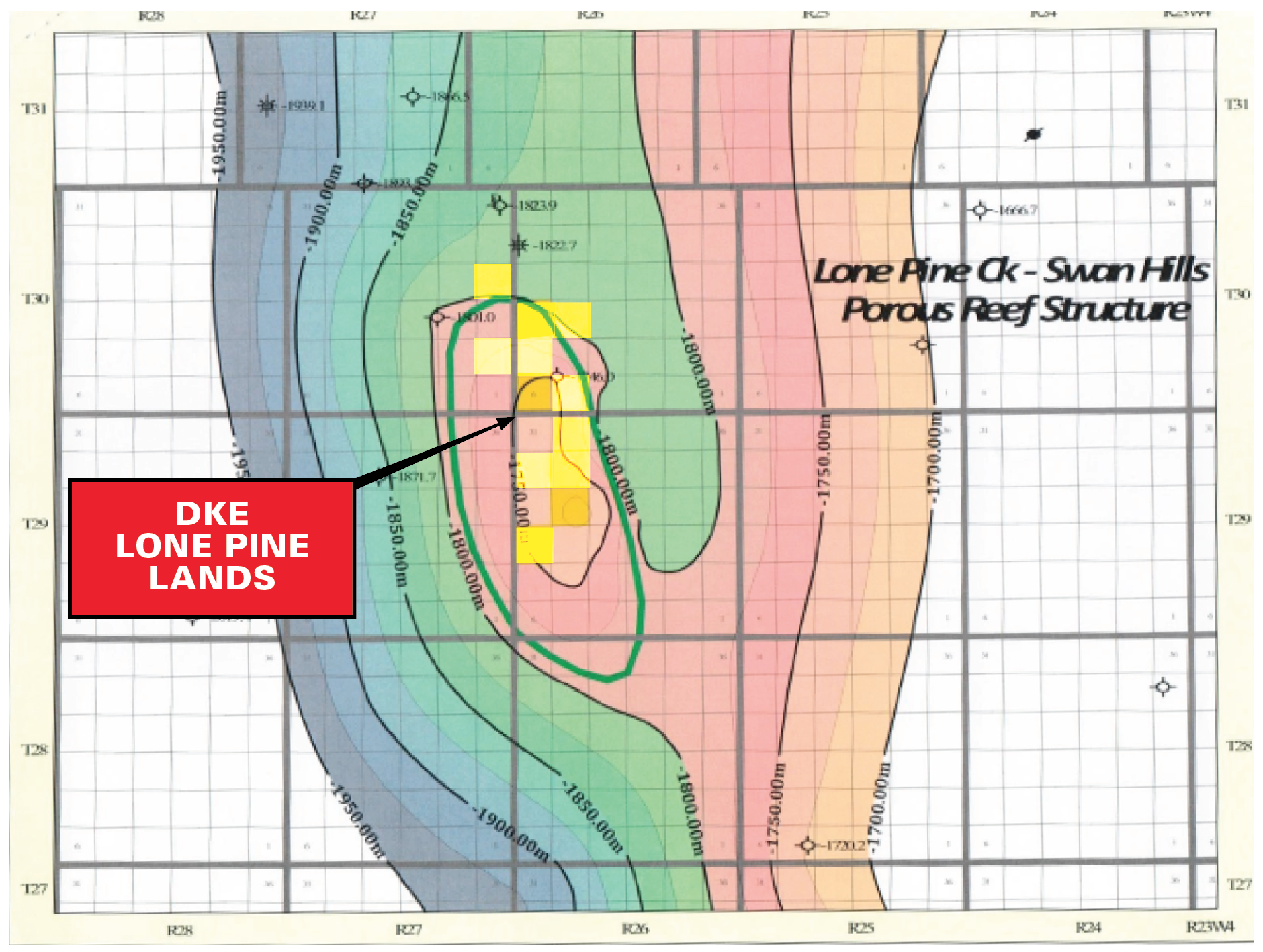 MAP 4 LONE PINE CREEK PROSPECT POROUS REEF STRUCTURE MAP