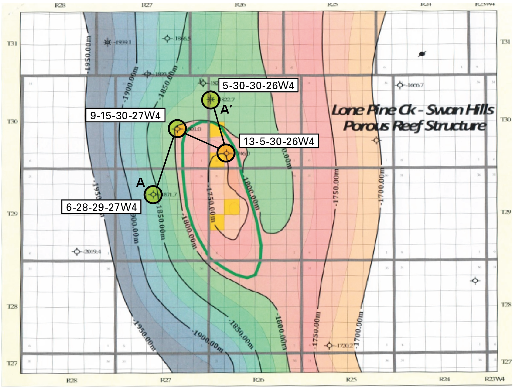 MAP 5 LONE PINE CREEK PROSPECT STRUCTURAL CROSS SECTION A-A'