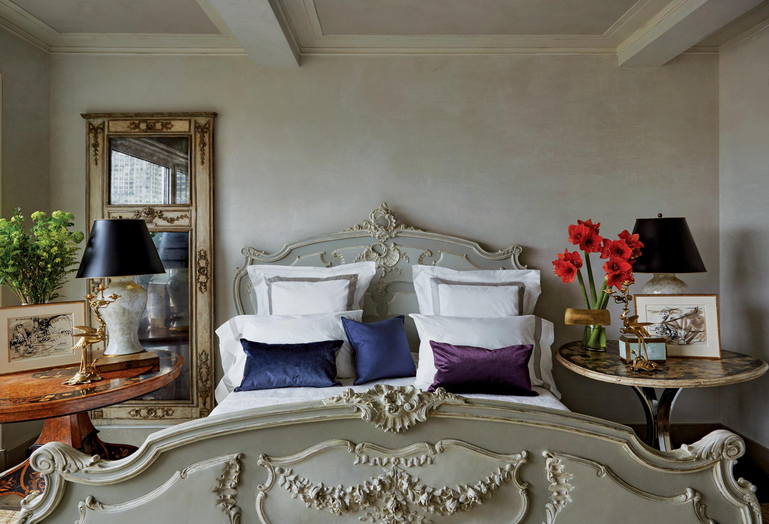 beautiful parisian bedroom in A manhattan highrise