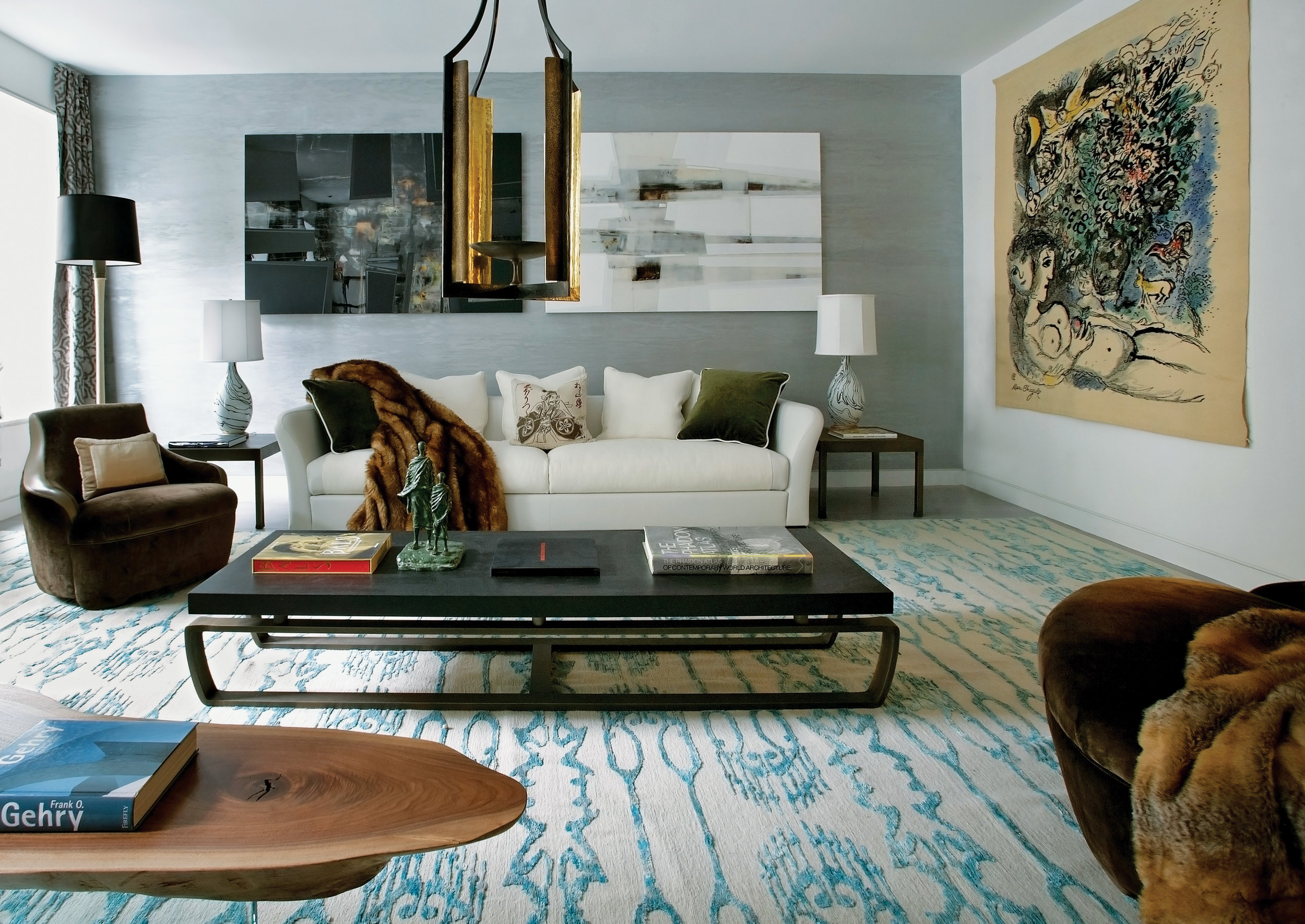 """former carriage house in manhattan, known as the waterfall mansion, gets a facelift for a client who is a """"real estate, finance and art world visionary""""."""