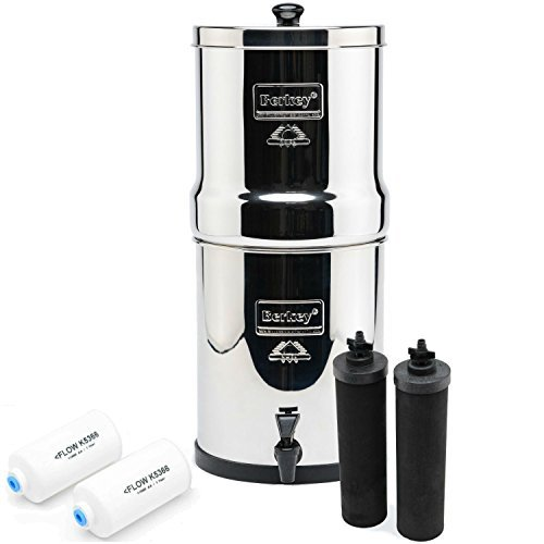 Big Berkey BK4X2 Countertop Water Filter with Black Berkey Elements and Flouride Filters