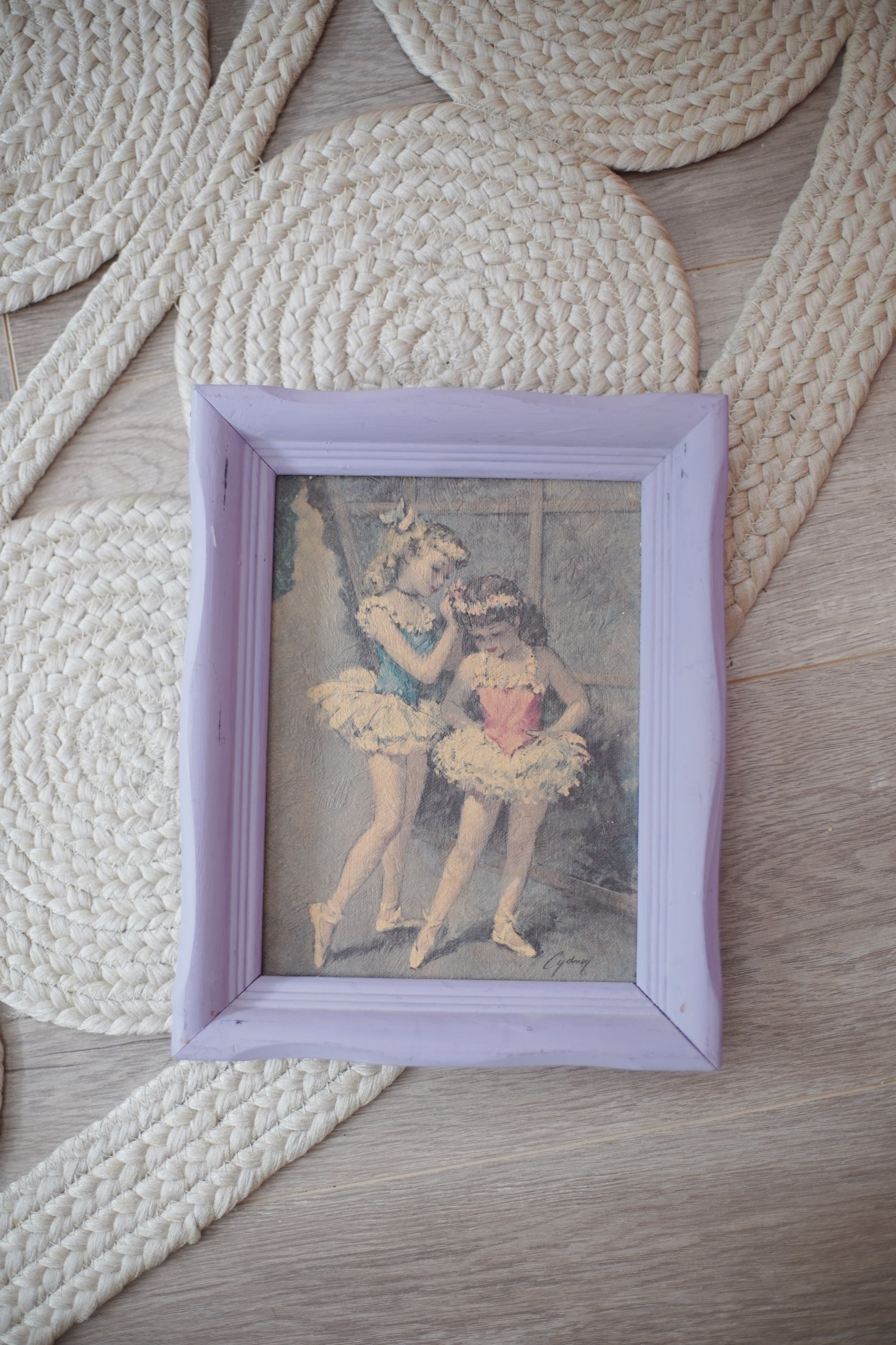 the flea market - My creative and eclectic mother also inspired my love of antiques and vintage as a child. I loved tagging along with her to our local flea market and watching her creative process. Pictured is one of the 1950's ballerina prints (by Cydney Grossman) that I mentioned in the podcast. The frame was probably wood initially, but when we bought it, it was a kind of a 1970's pink. Naturally, we painted it a very 1990's purple, perfect for my room at the time.