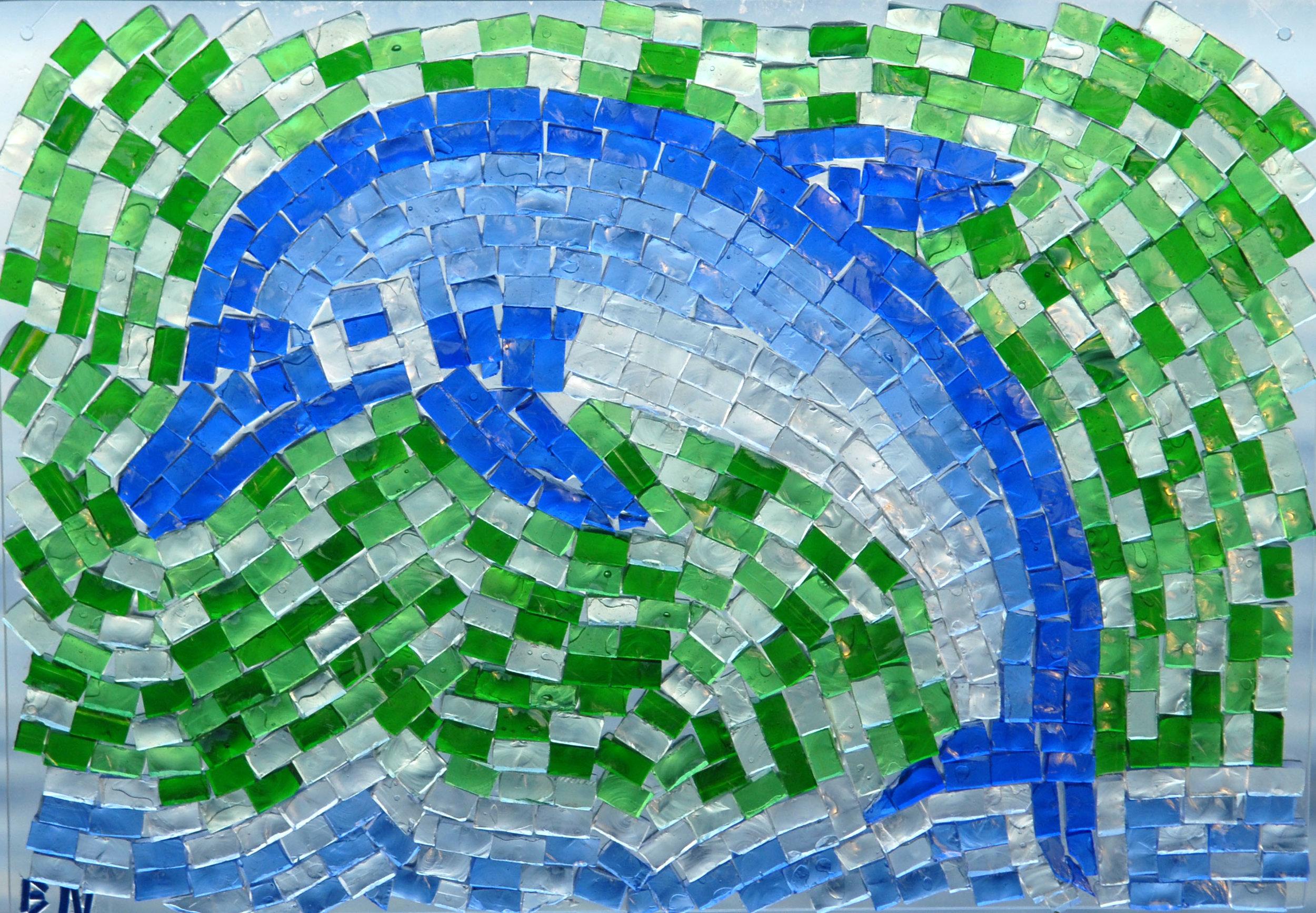 Dolphin, transparent glass mosaics