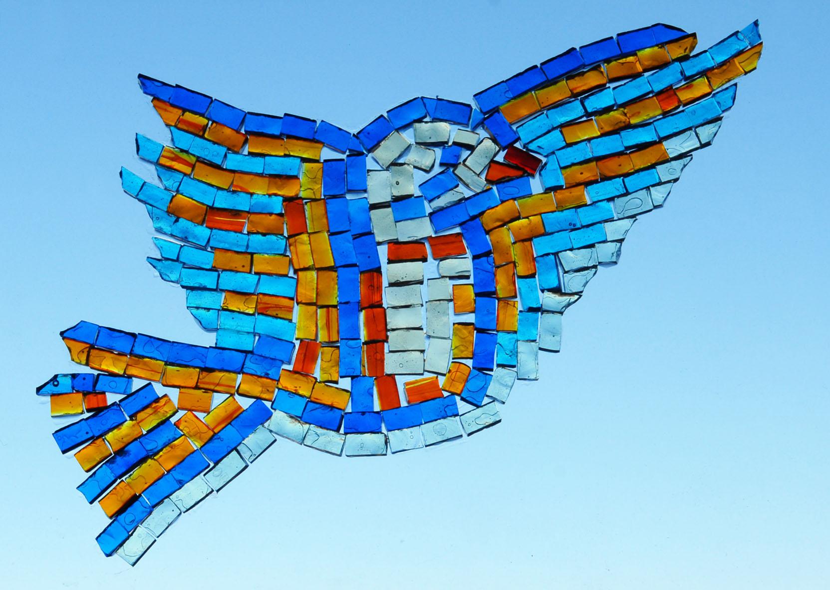Bird, transparent glass mosaics