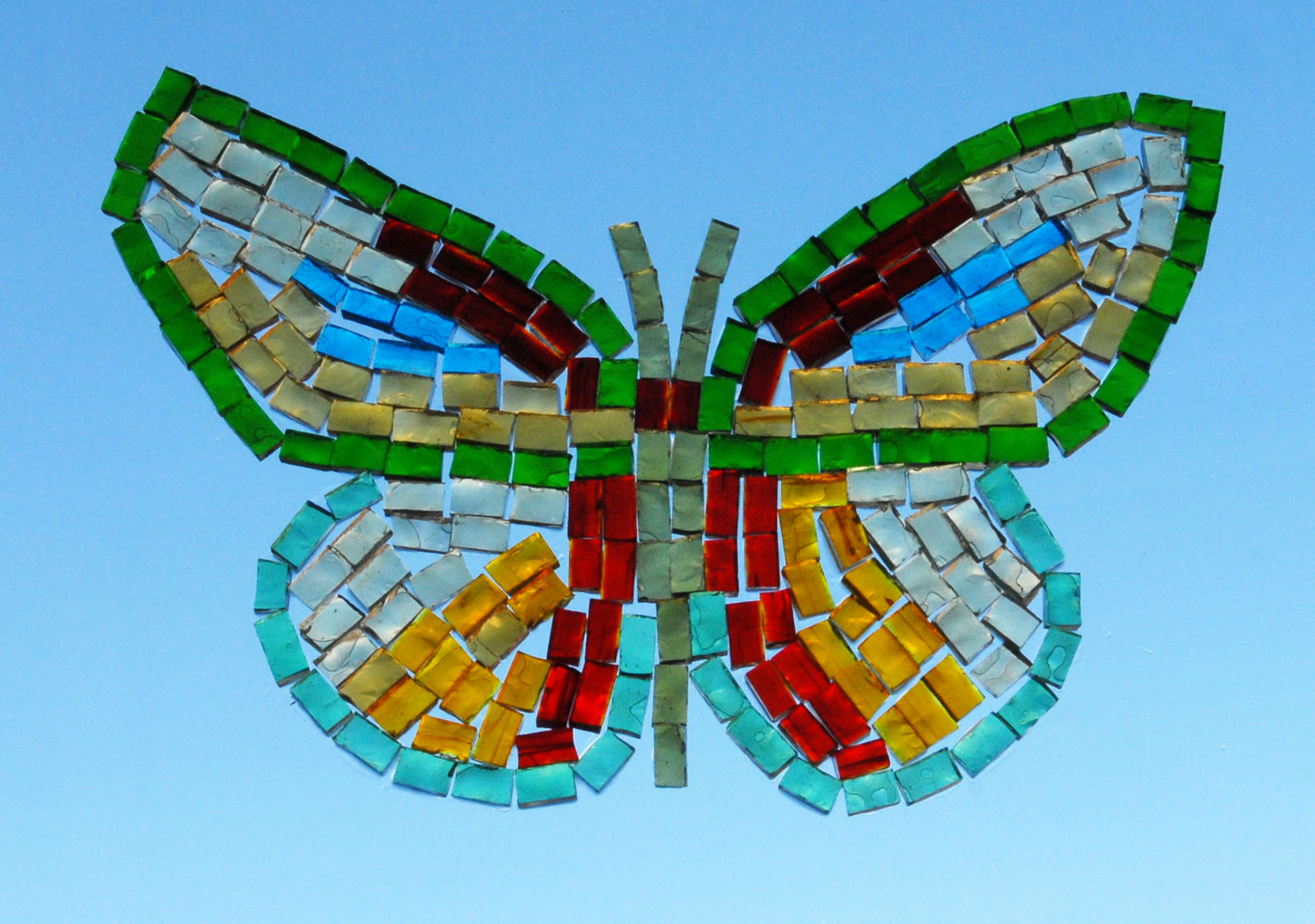 Butterfly, transparent glass mosaics