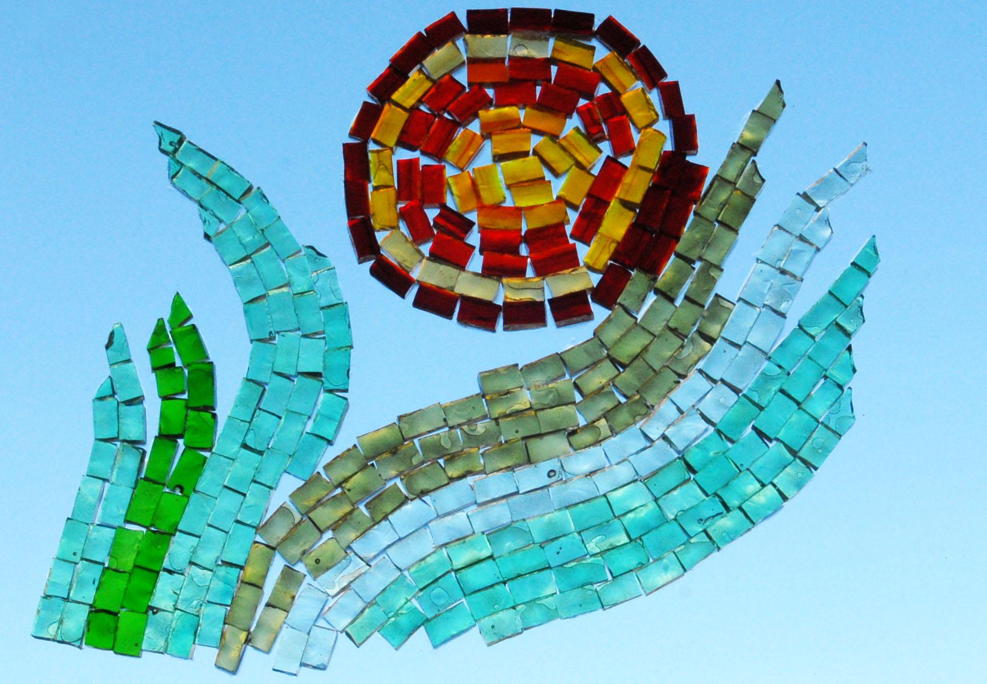 Flower, transparent glass mosaics