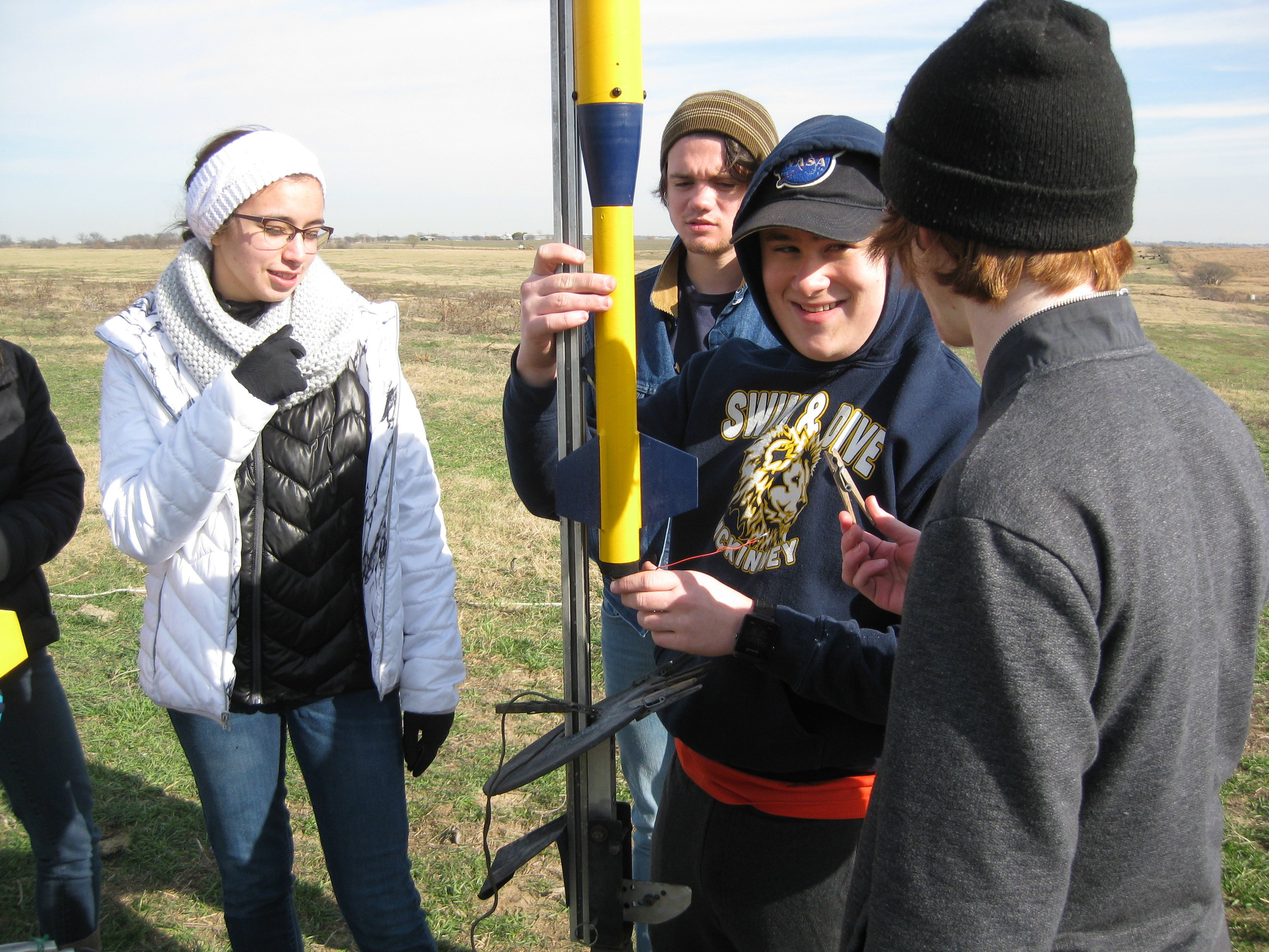 Veterans' rocket being placed on the rail.
