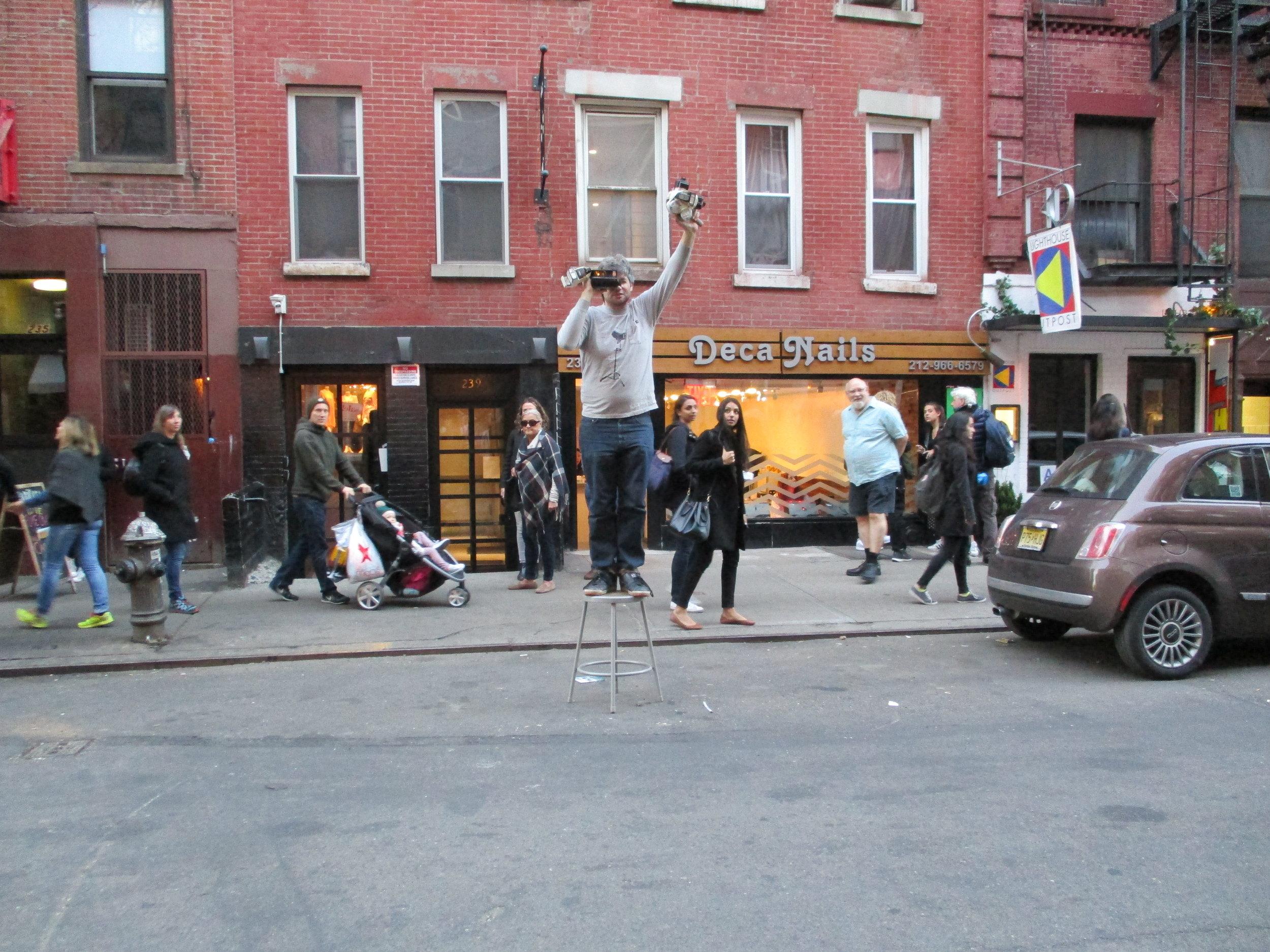 NYC street Impossible Film/Polariod photographer Nick McManus in action, Noho, 2017