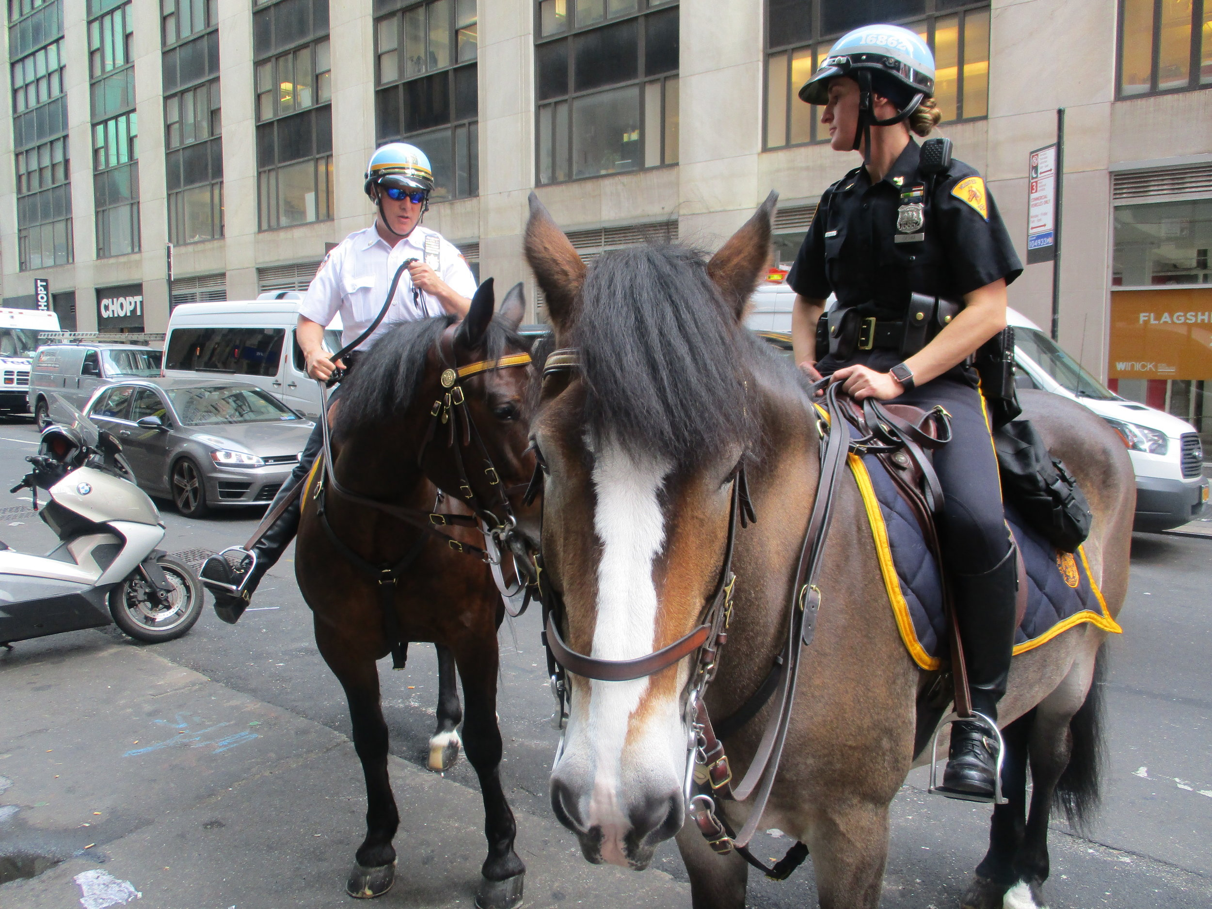 Two New York City mounted police officers on 41st Street just off Time Square main through fare, 2017