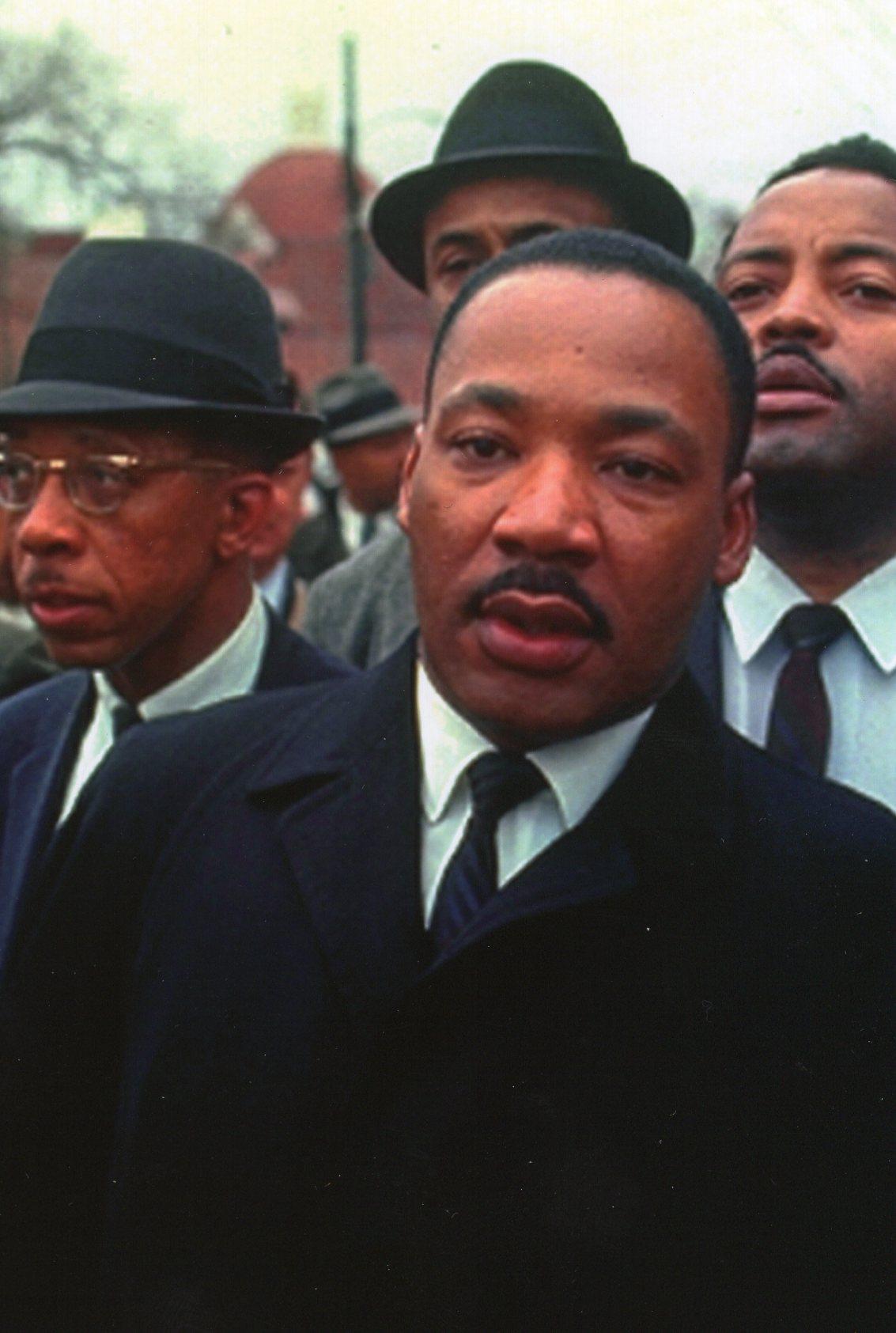 Martin Luther King Jr. on Pettus Bridge Selma-Montgomery Civil Rights March March 21, 1965