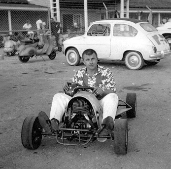 Duffy in his front engine experimental kart, powered by a 20 HP Puch built in 1960.      Photo: Enzo Falconi Collection.