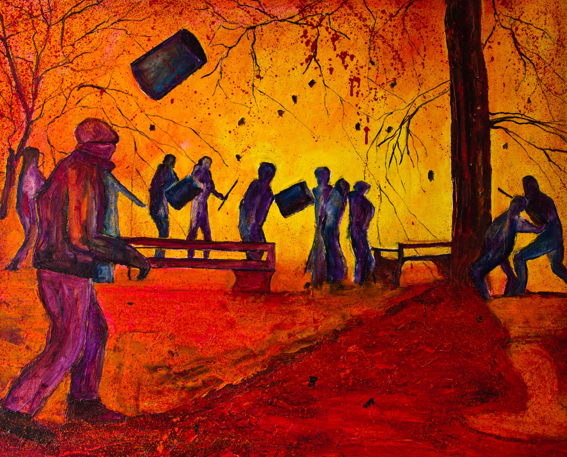 Gregor Pratneker - Fighting figures; oil on wood; 2013