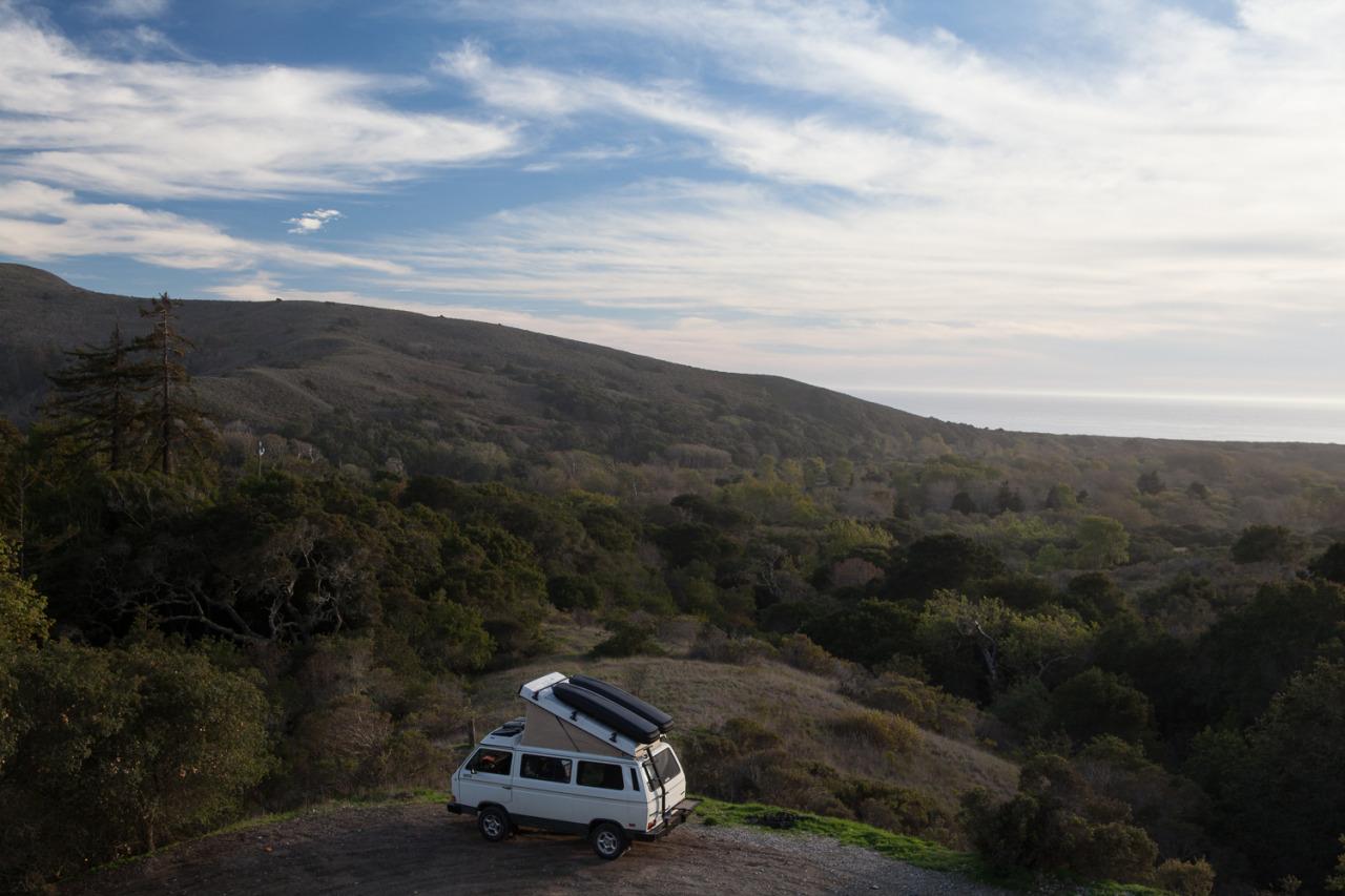 Volkswagen Vanagon camped in Big Sur