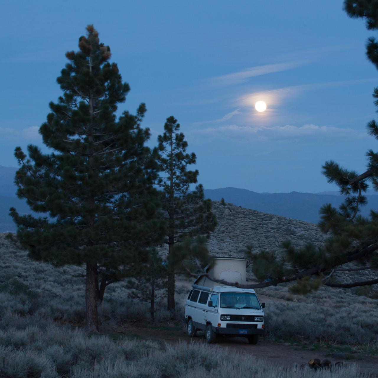 Volkswagen Van camped outside of Bridgeport, California