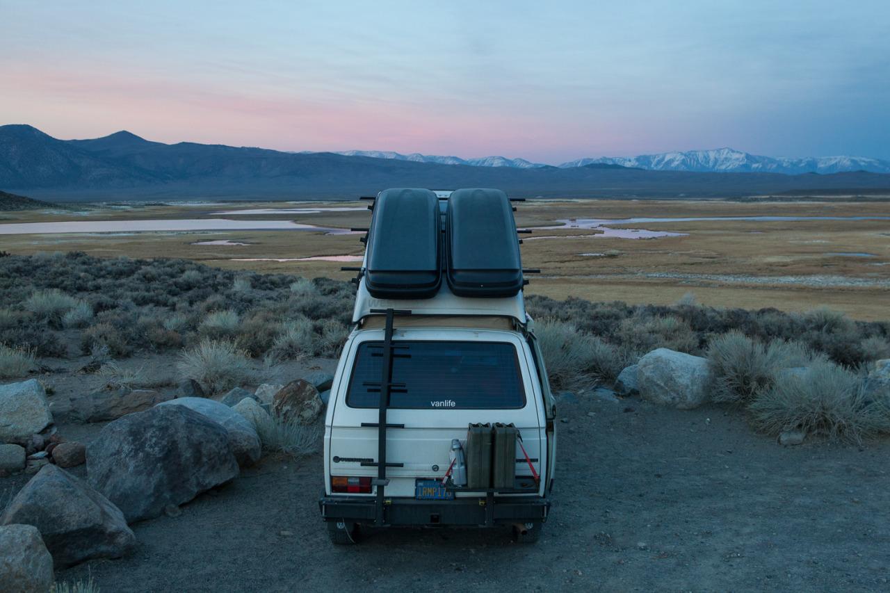 Volkswagen Vanagon camped in the Eastern Sierra, California