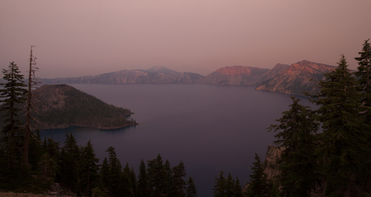 A forest fire makes Crater Lake a special shade of red