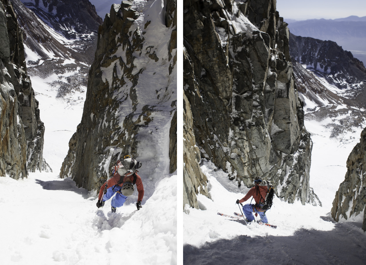 Climbing up and skiing down a chute in the Eastern Sierra, California