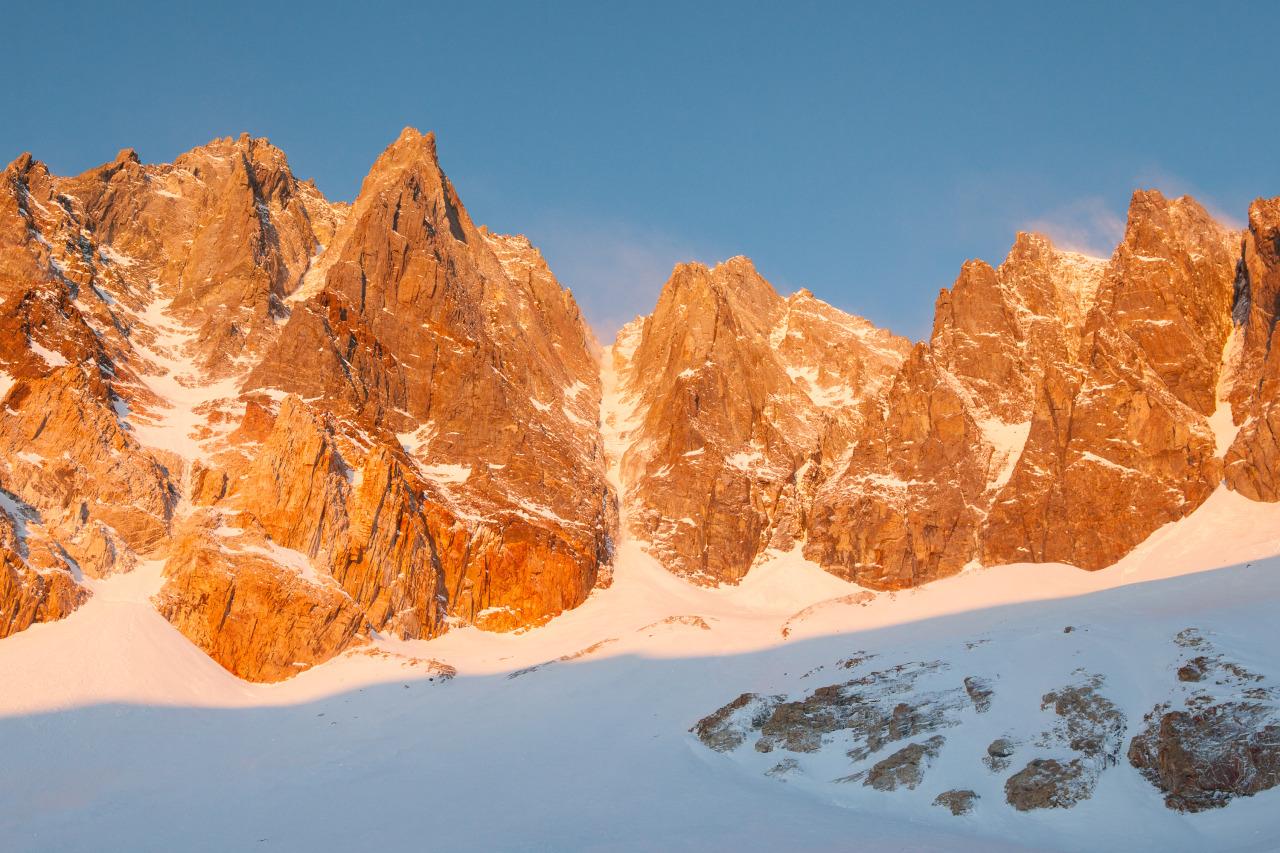 Split mountain in the sunrise