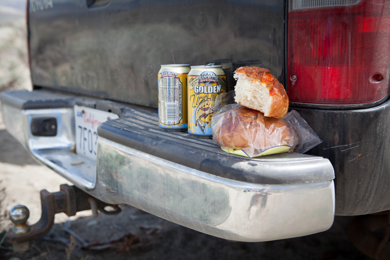 Snacks on the back of a Tacoma pick-up, to eat post ski mountaineering trip
