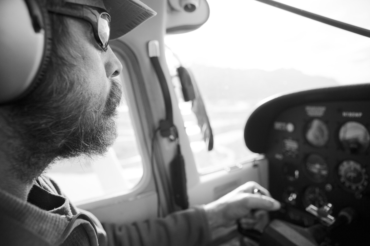 Bush pilot, Casey Long, pilots us to land in a glacier about an hour east of Wasilla, Alaska