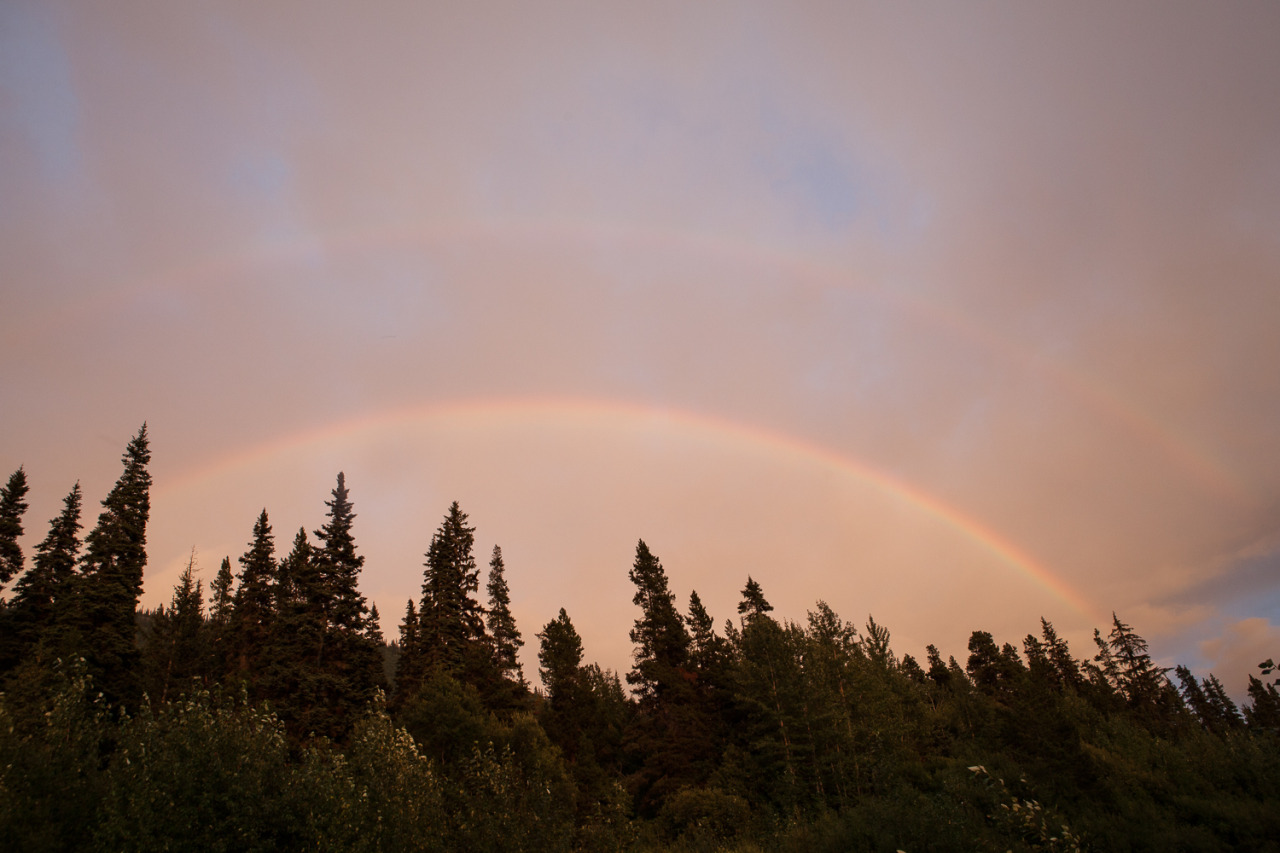 A double rainbow on the Alaska Highway, right where I camped in my Volkswagen Vanagon that night