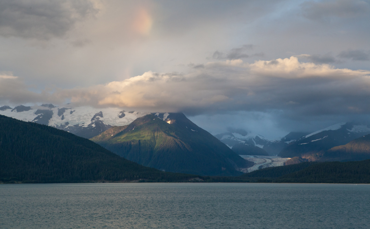 My first glimpses of the stunning glaciers of Alaska from the Skagway-Juneau ferry