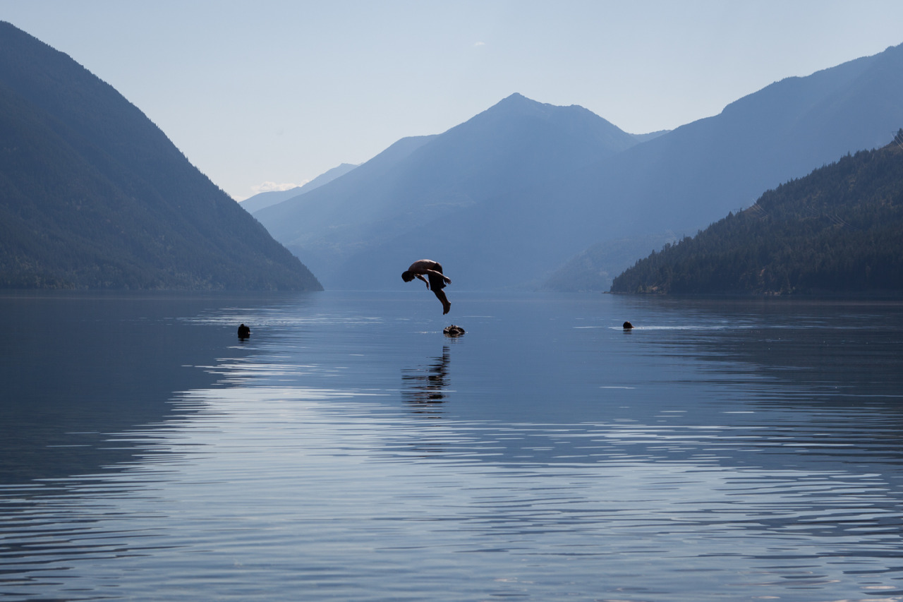Leandre jumps in our favorite lake