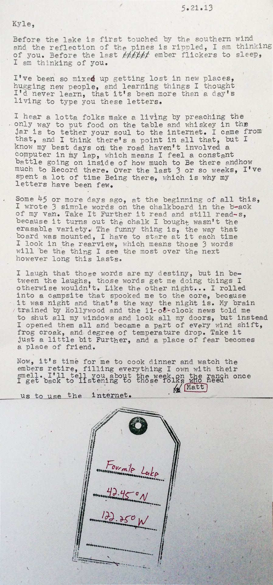 Letter written to the reader, Kyle, about Taking it Further