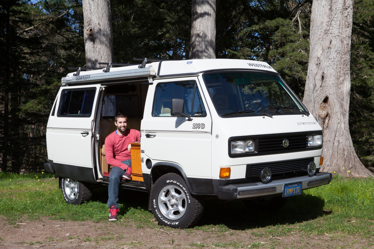 Me sitting in my newly purchased '86 VW van in San Francisco. I named him Donnie.