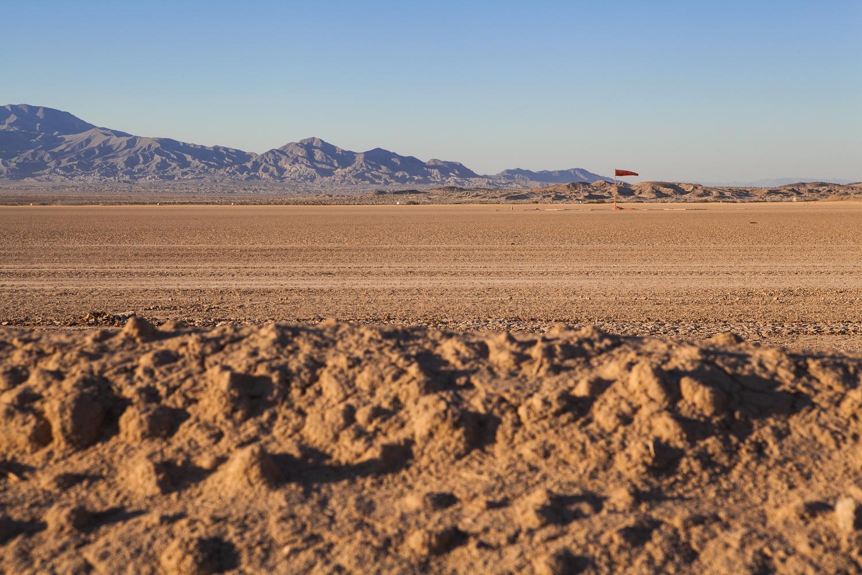A dirt airplane landing strip seen while traveling through the Anza Borrego  d  esert in California