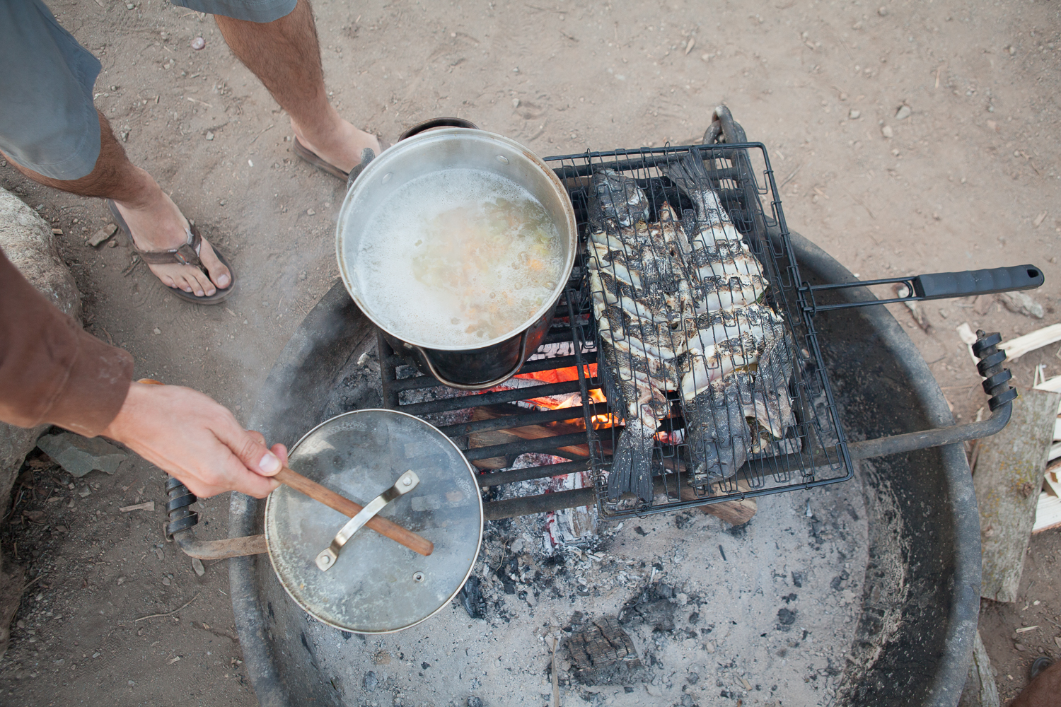 Good eats on the campfire after a successful day spearfishing.
