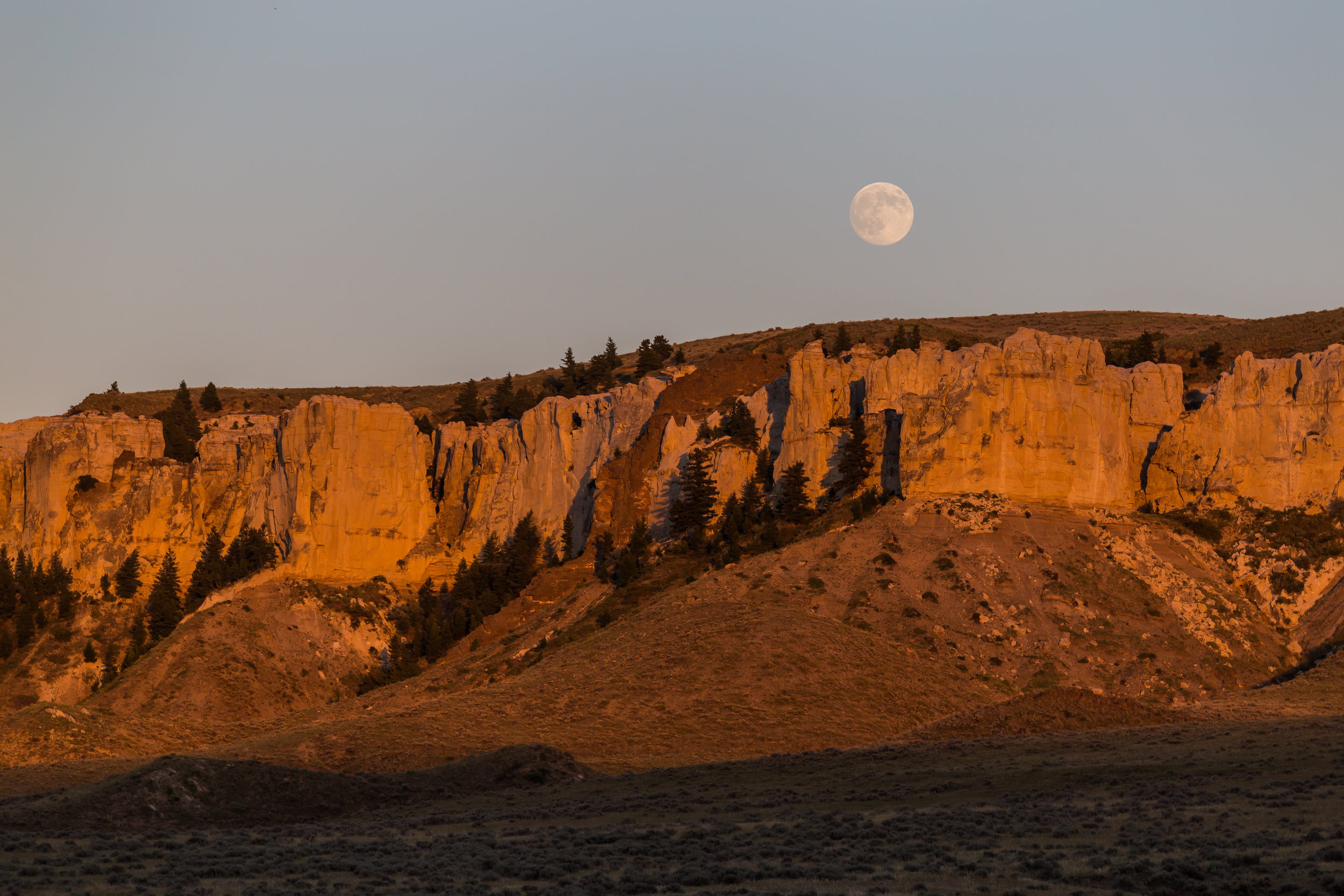 Sunset and Moonset at Hole-in-the-Wall