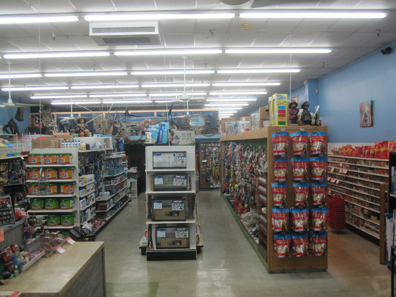 Aisles of supplies for all your pets