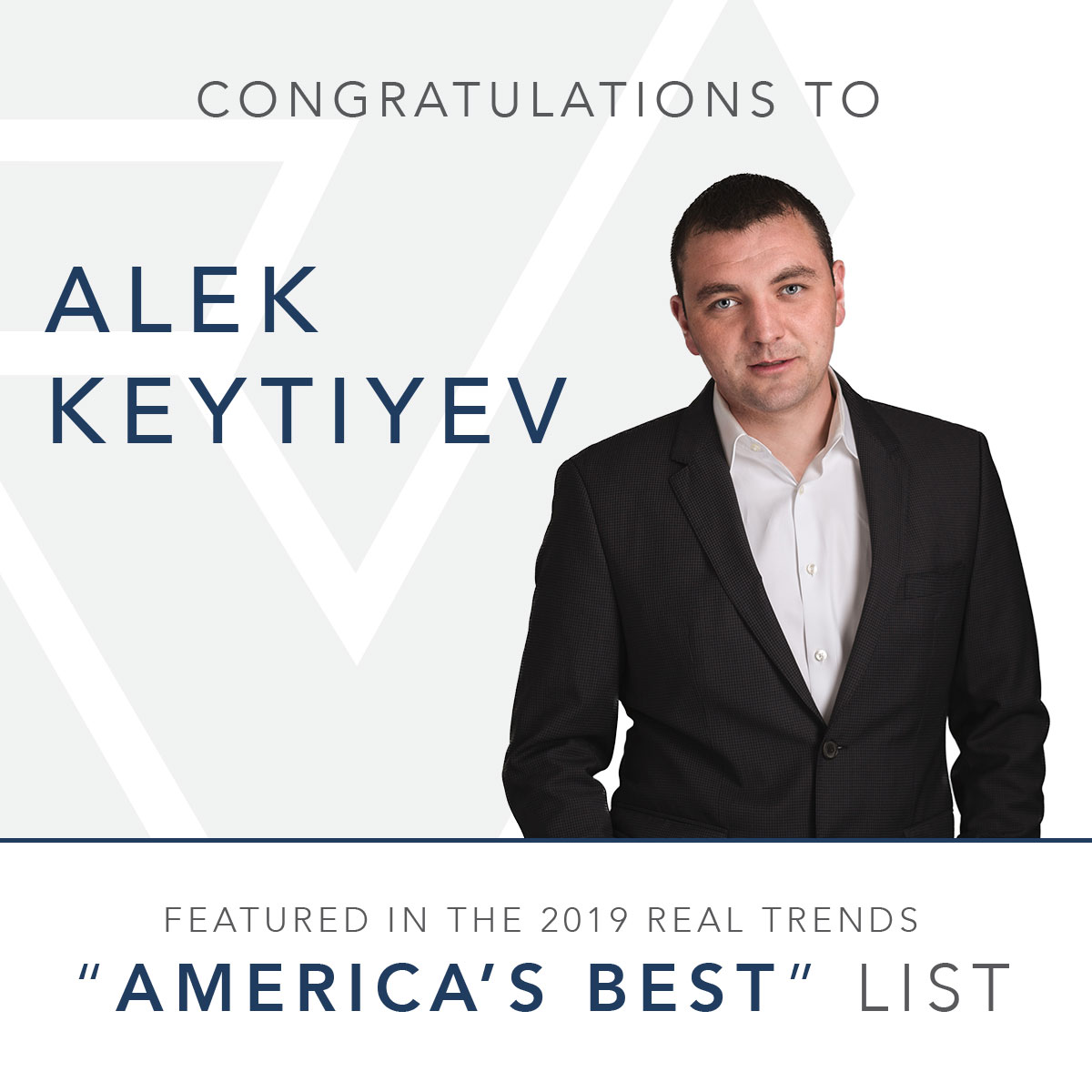 Alek Keytiyev is Americas Best 2019 by Real Trends