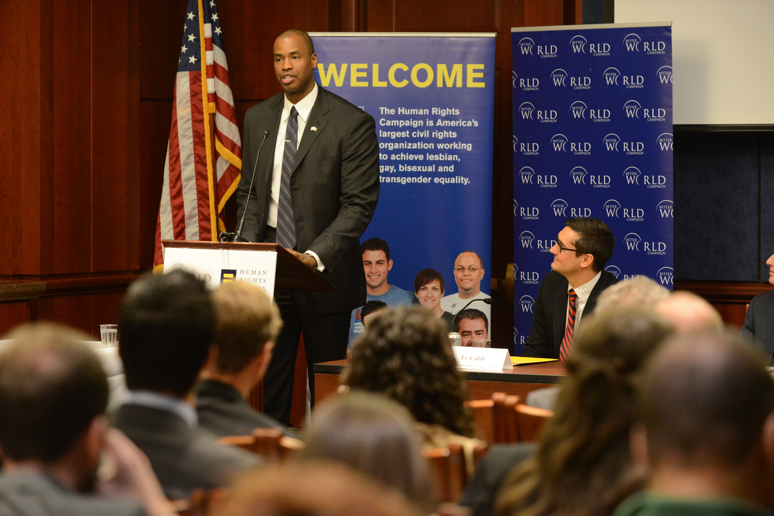 Retired NBA player Jason Collins speaking at UN Human Rights Day event in DC