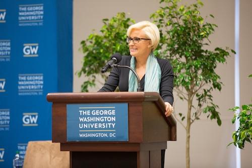 """Morning Joe"" co-host Mika Brzezinski speaking at GW for National Eating Disorder Awareness Week"