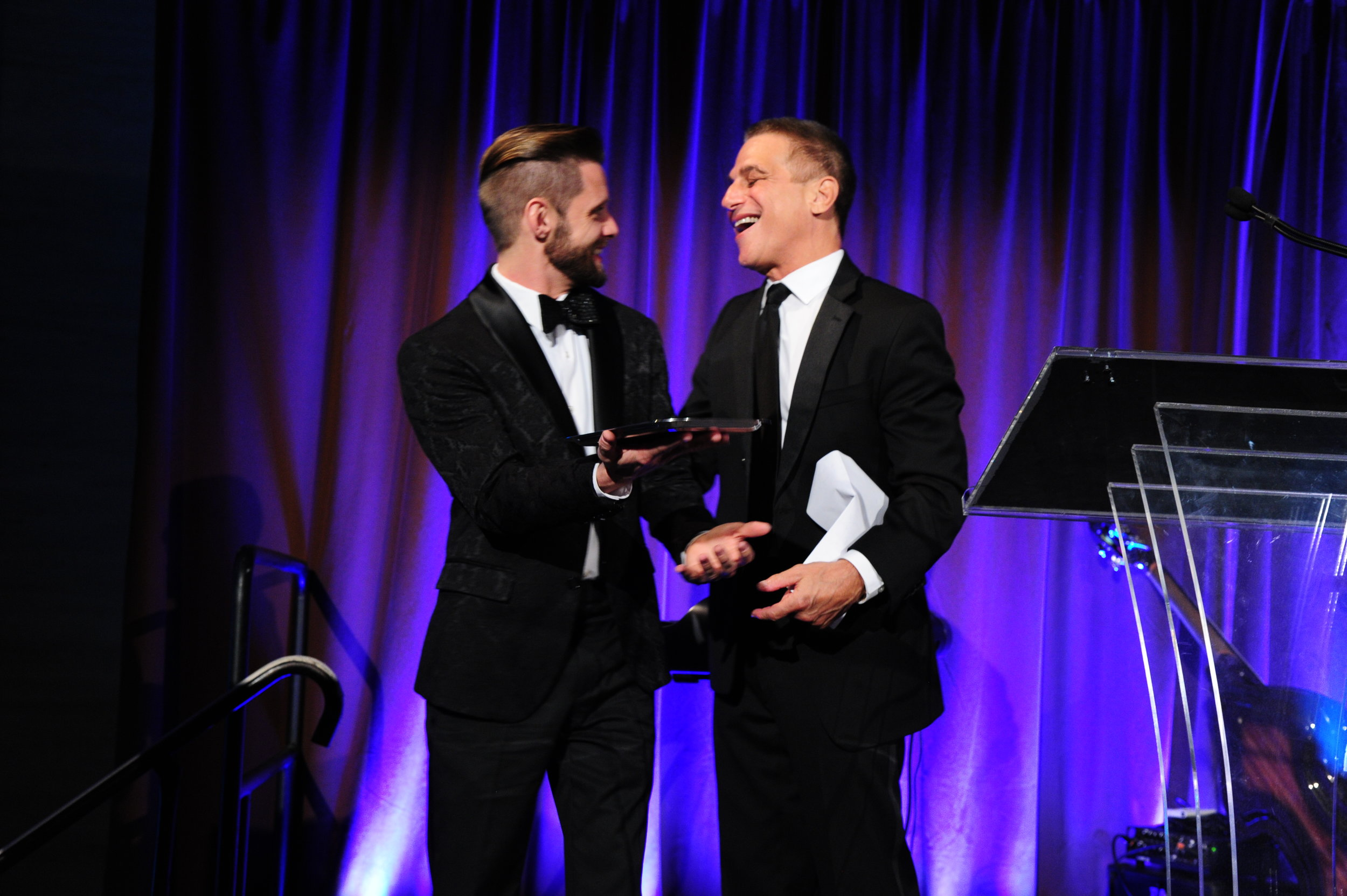 Tony Danza presents Danny Pintauro with award at Aid for AIDS Gala in NYC