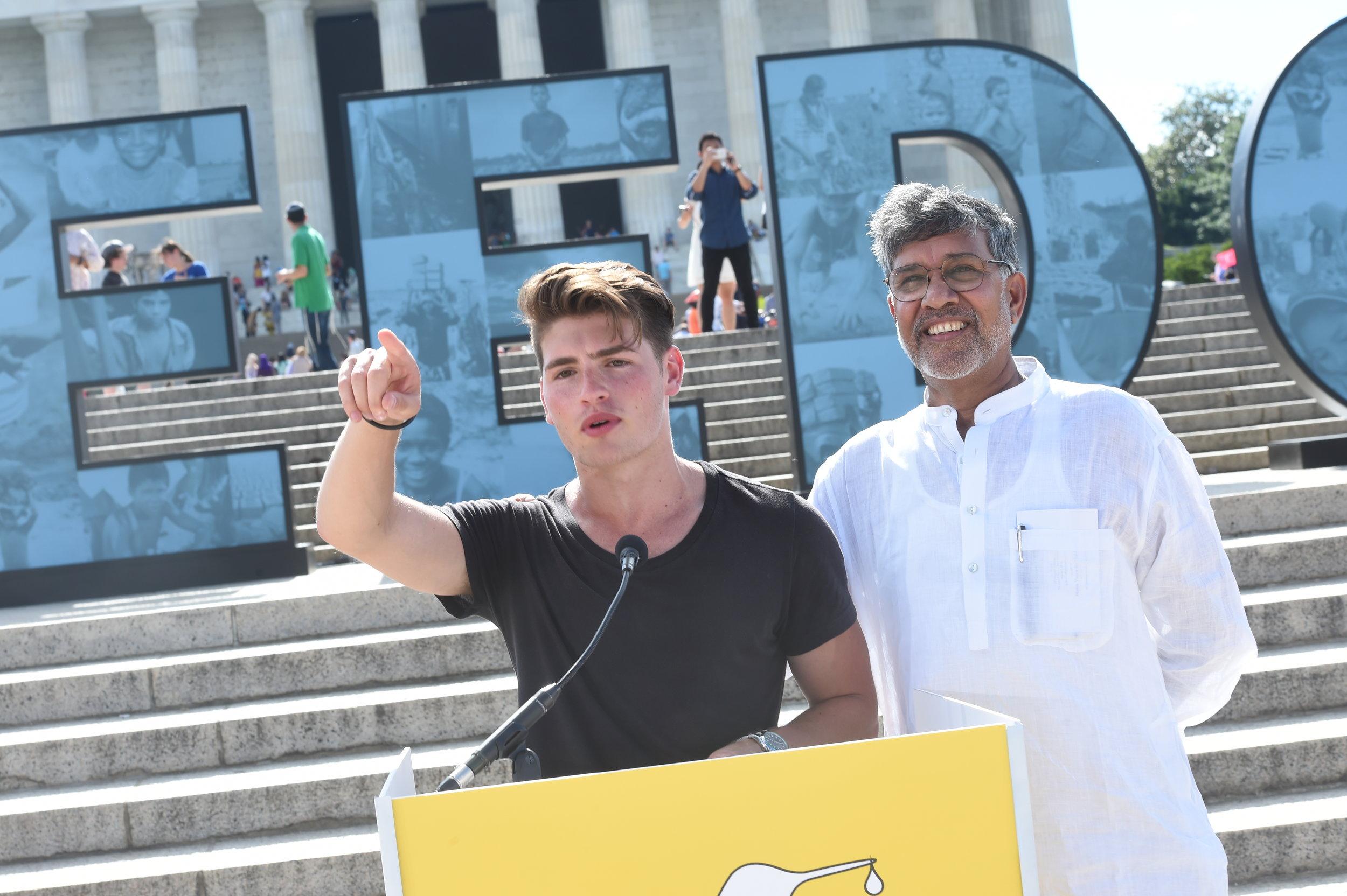 Gregg Sulkin speaking at Satyarthi Children's Foundation Rally in DC