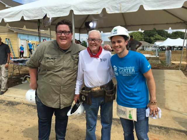 American Idol winner Kris Allen with President Carter at Habitat for Humanity Build in Memphis