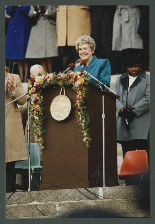 Gov. Joan Finney at her 1991 Inauguration (courtesy Kansas State Historical Society)
