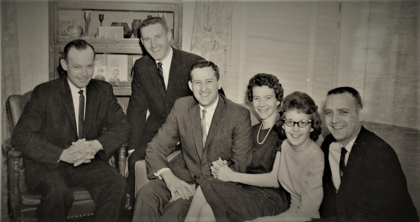 First cousins at their grandfather, Fred Bemis' funeral, Hays, Kansas, May 1963. (L-R) Tom Bemis, Guy Bemis, Perry Bemis, Geri Ordway (my mom at 28), Linda Ordway and Bob Ordway.