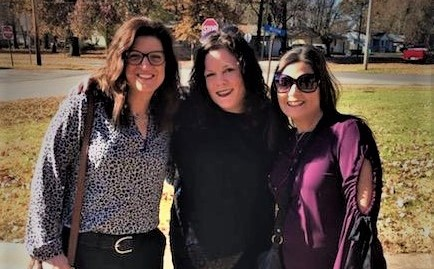 Twenty years later, the bride flanked by her erstwhile bridesmaids at her mother's funeral in Girard, Kansas. (Dea on the left, Michelle on the right).